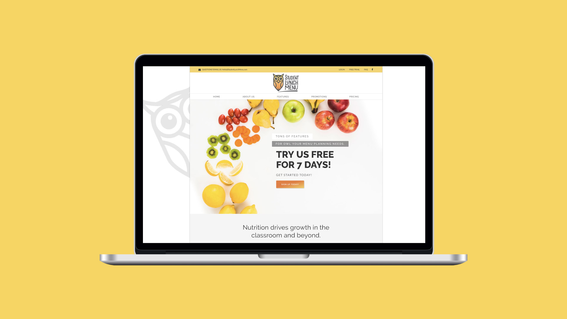 Student Lunch Menu website desktop by Agency 877