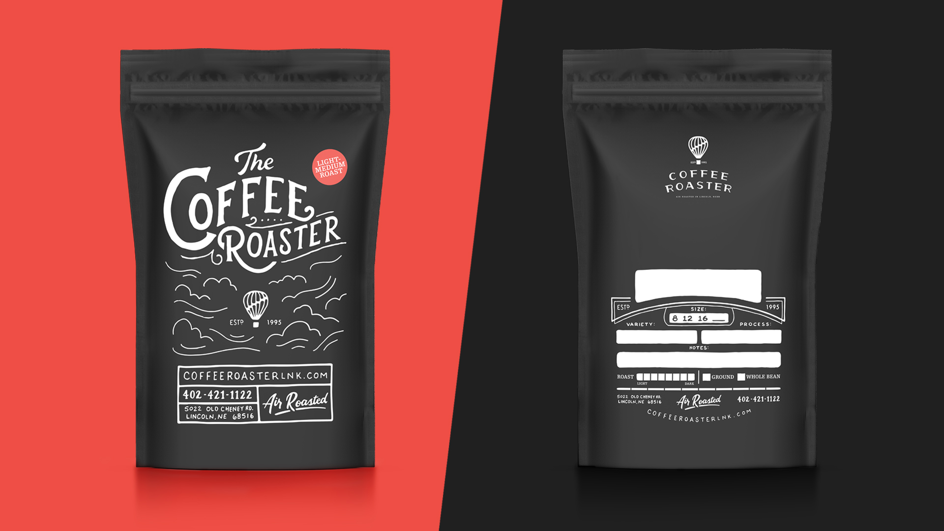 The Coffee Roaster coffee bag package design