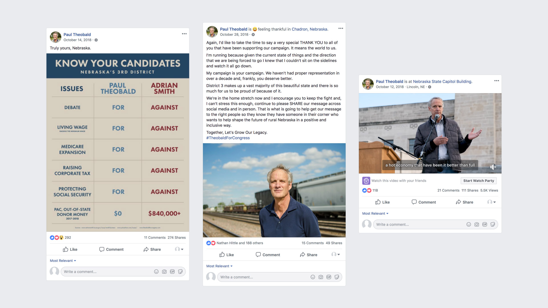 Facebook screenshots detailing Paul Theobald campaign highlights 2