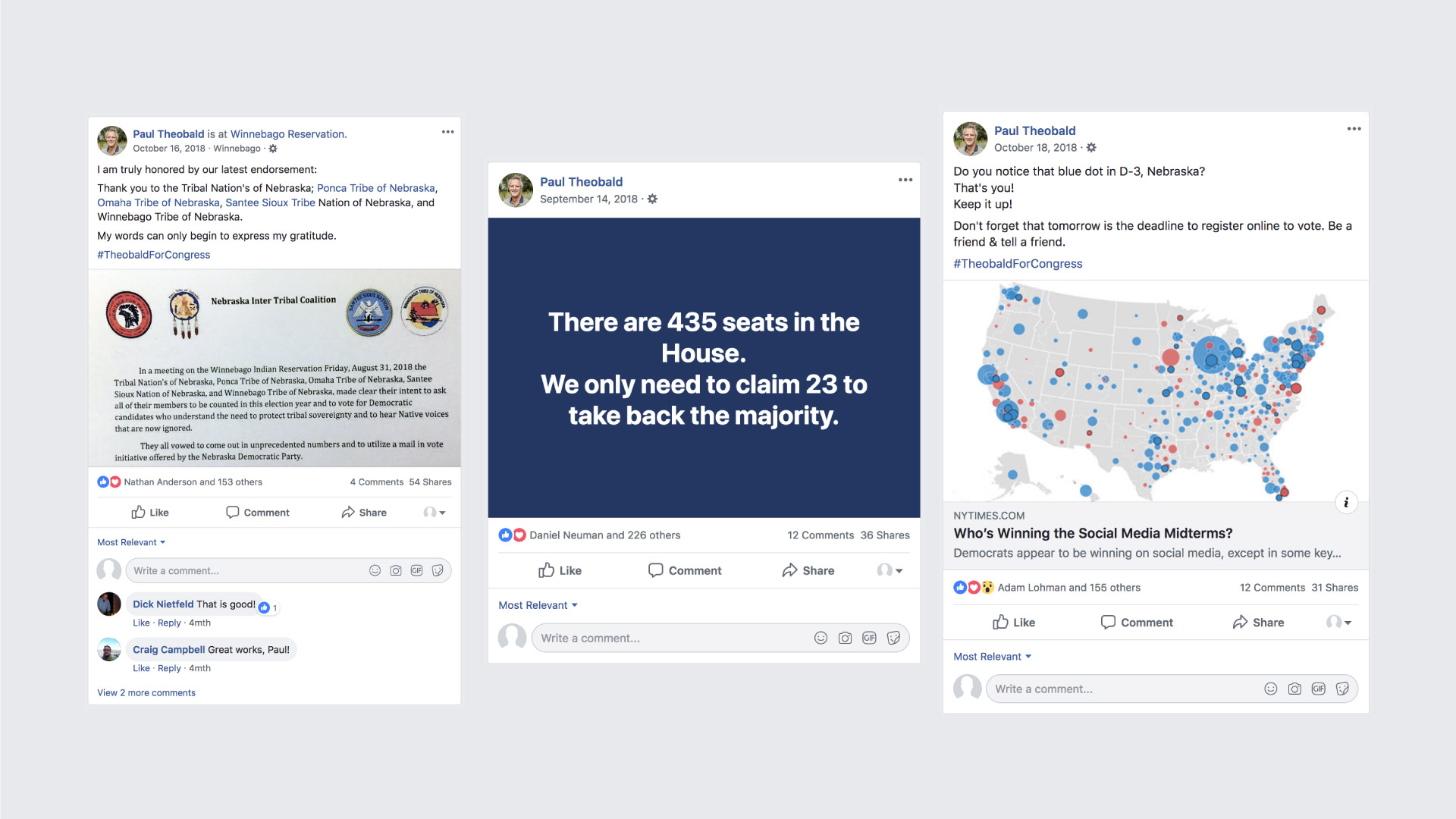 Facebook screenshots detailing Paul Theobald campaign highlights