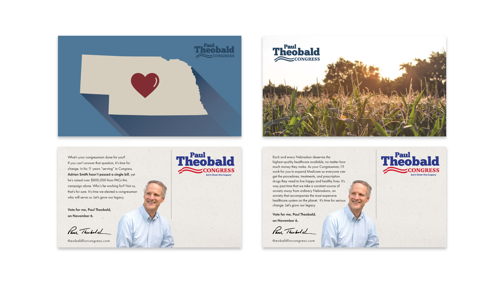 877's campaign business cards for Paul Theobald