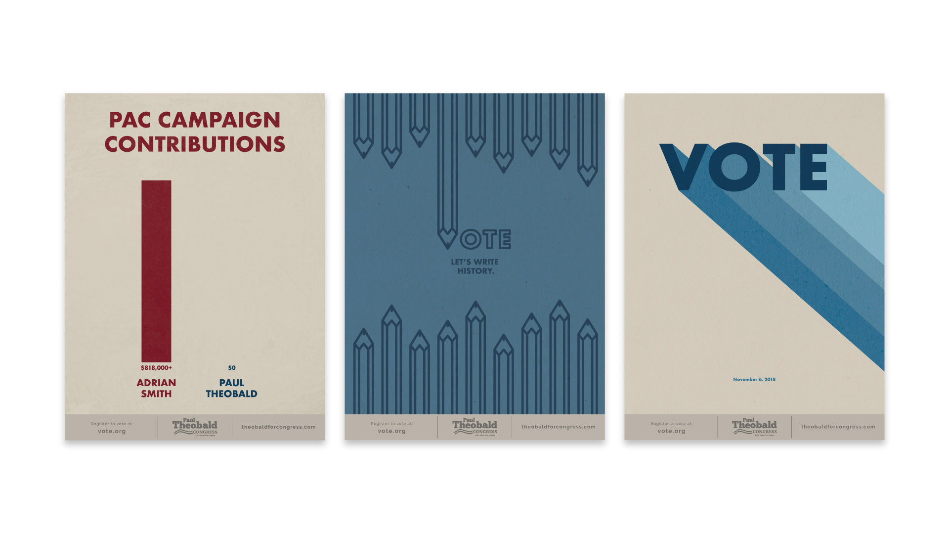 877's promotional print pieces for Paul Theobald's campaign